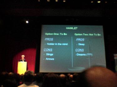 David Byrne presenting